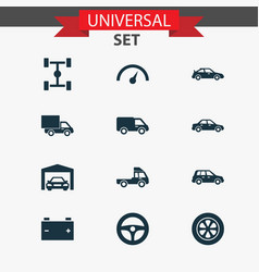 Car icons set collection of lorry repairing car vector