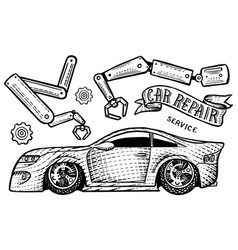 car with a ribbon and inscription repair vector image