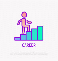career thin line icon man climbs the stairs vector image