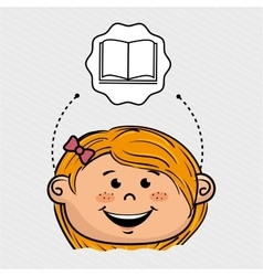Cartoon girl school icon vector