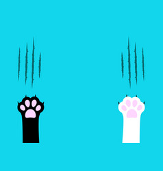 Cat claw scratching set black and white paw print vector