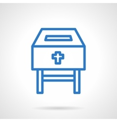 Charity box blue line icon vector image