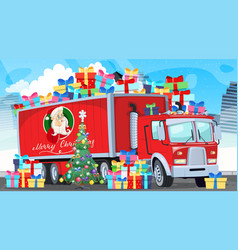 Christmas and new year delivery truck shopping vector