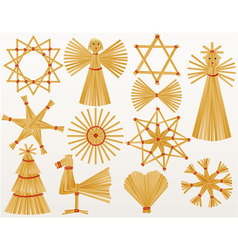 Christmas straw decorations vector