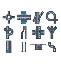 city road icon set cartoon style vector image