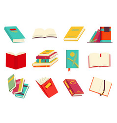 collection various books stack books vector image