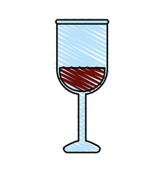 color crayon stripe image glass cup with wine vector image