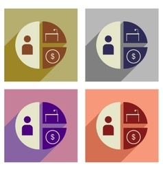 Concept flat icons with long shadow time money vector