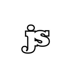 Connected js j s black and white alphabet letter vector
