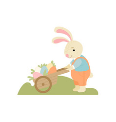 cute bunny pushing wooden cart full decorated vector image