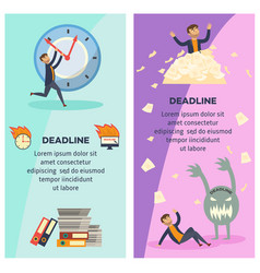 Deadline and time management banners set with vector