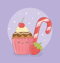 Delicious and sweet cane and products kawaii vector