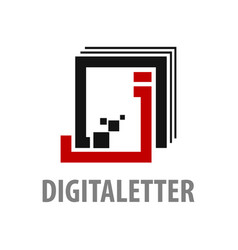 digital square initial letter j logo concept vector image