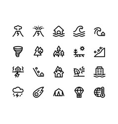 Disaster line icons vector