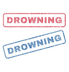 Drowning textile stamps vector