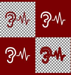 Ear hearing sound sign bordo and white vector