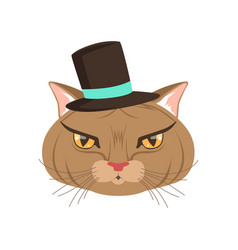 elegant cat wearing black hat funny cartoon vector image