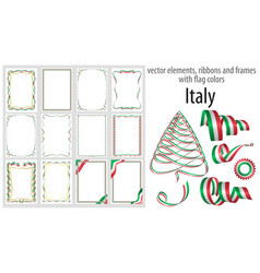 elements ribbons and frames with flag colors vector image