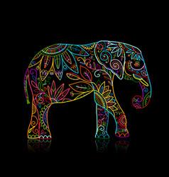 elephant ornate sketch for your design vector image