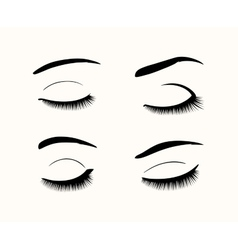Eyelashes and eyebrows silhouettes vector