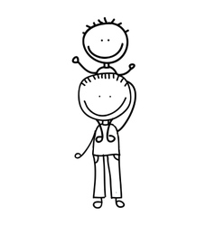 Father with son drawing isolated icon design vector