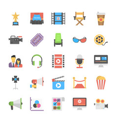 Film making and post production flat icon designs vector