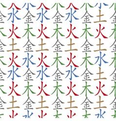 Five feng shui elements pattern vector