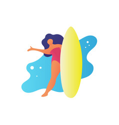 Flat friendly woman holding a surfboard and say vector