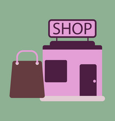 Flat icon shop package vector