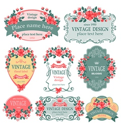 Floral label vector image