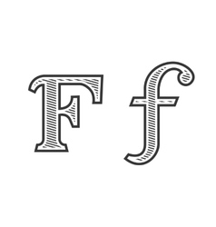 Font tattoo engraving letter F with shading vector image