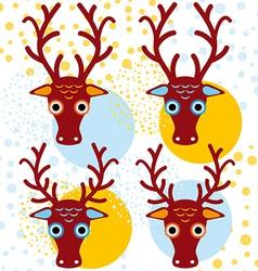 Four brown deer on an orange light blue background vector image