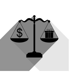 Gift and dollar symbol on scales black vector