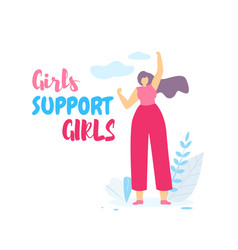 girls support girls banner with beautiful woman vector image
