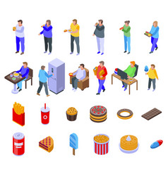 Gluttony icons set isometric style vector