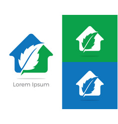 Herbal logo pharmacy icon leaf in home vector