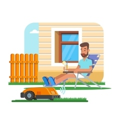Home robot trimming lawn vector
