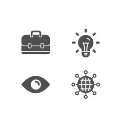 idea eye and portfolio icons international globe vector image