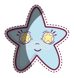 Kawaii happy star with stars inside eyes vector