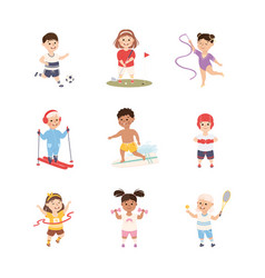 kids playing various sports set boys and girls vector image