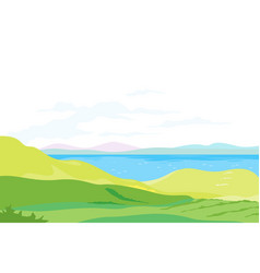 Lake in green valley panorama vector