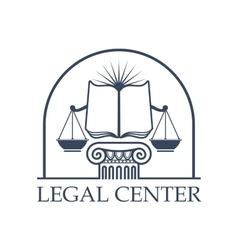 Legal center scales justice law open book icon vector