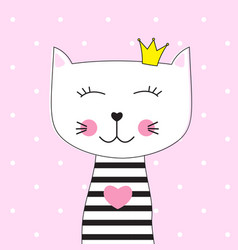 little cute cat princess vector image