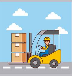 logistic worker driver forklift loading cardboard vector image
