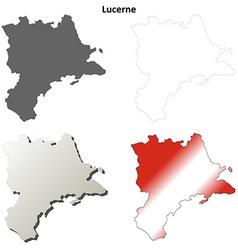 Lucerne blank detailed outline map set vector