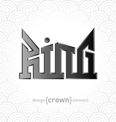 Luxury silver King Crown design element on vector