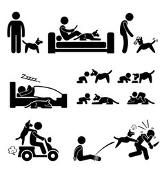 Man and dog relationship pet stick figure vector