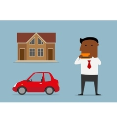 Manager bought car and house by credit card vector