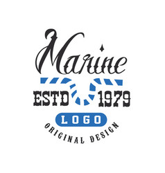 Marine logo original design estd 1979 retro badge vector