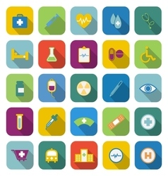 Medical color icons with long shadow vector image